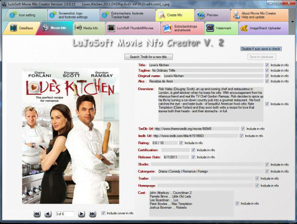 Click to view LuJoSoft Movie Nfo Creator V.2 2.0.0.30 screenshot