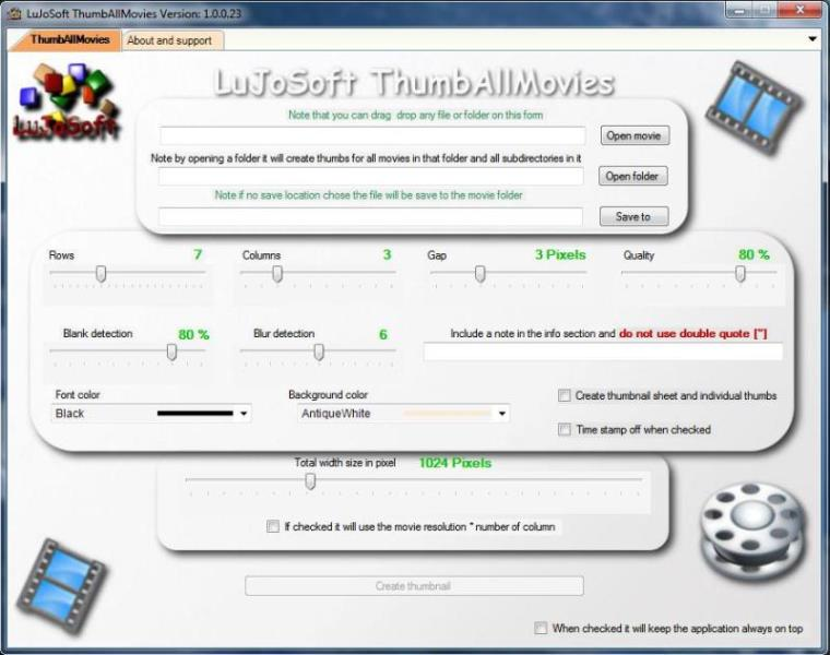 Click to view LuJoSoft ThumbAllMovies 1.0.0 screenshot