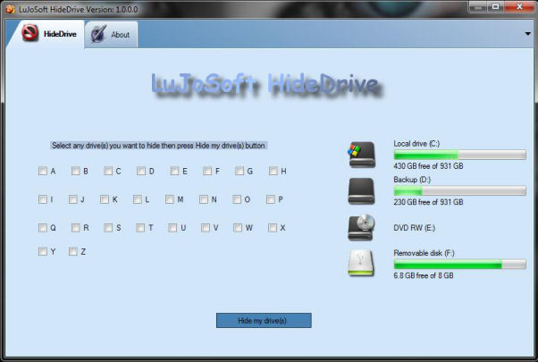 Click to view LuJoSoft HideMyDrive 1.0.0.0 screenshot