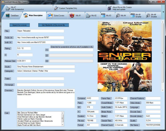 Click to view LuJoSoft Movie Nfo Creator 1.1.0.20 screenshot