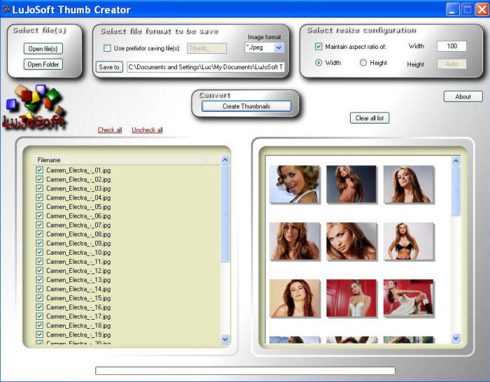 Click to view LuJoSoft Thumb Creator 1.0.0 screenshot